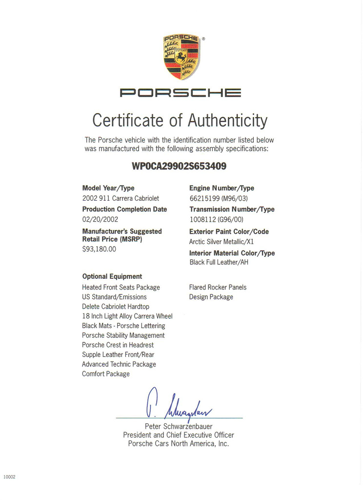 porsche certificate of authenticity Certificate of Authenticity for BMW? (pic)