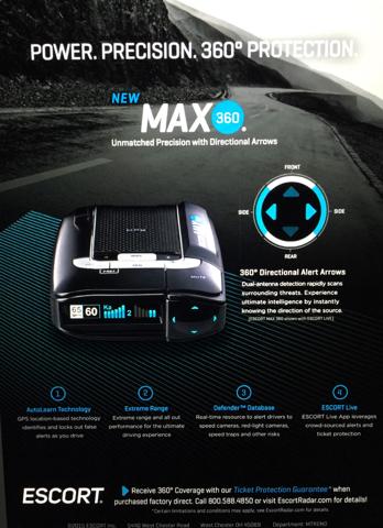 Escort Radar Max 360 >> Radar Detector - Escort Max 360 with ARROWS