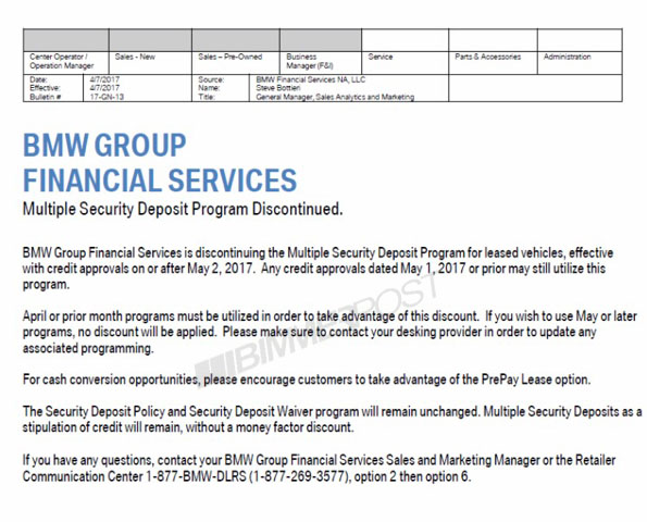 BMW Multiple Security Deposits (MSD) for leasing