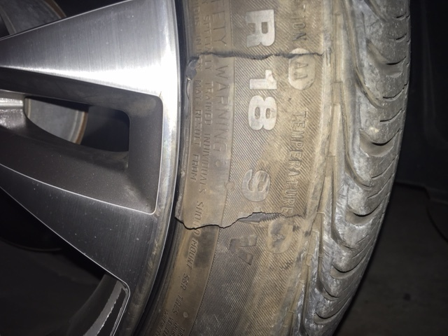 Driving on run flat with sidewall blowout