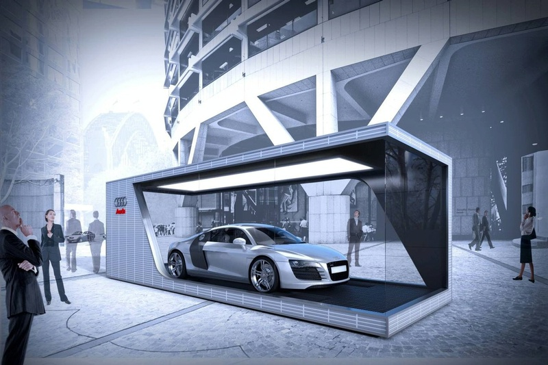 Audi 39 one car 39 showroom for Car showroom exterior design