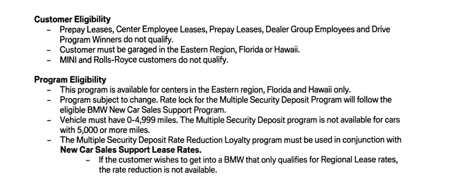 MSD Rate Reduction Program Returns for BMW Leases In Eastern