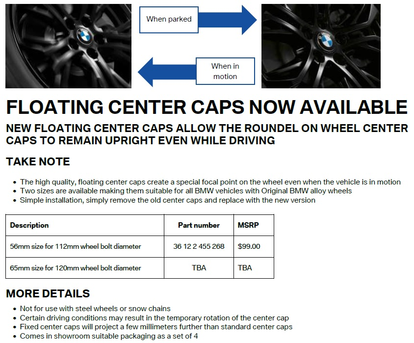 cd7085bce94 OEM Floating Center Caps Now Available