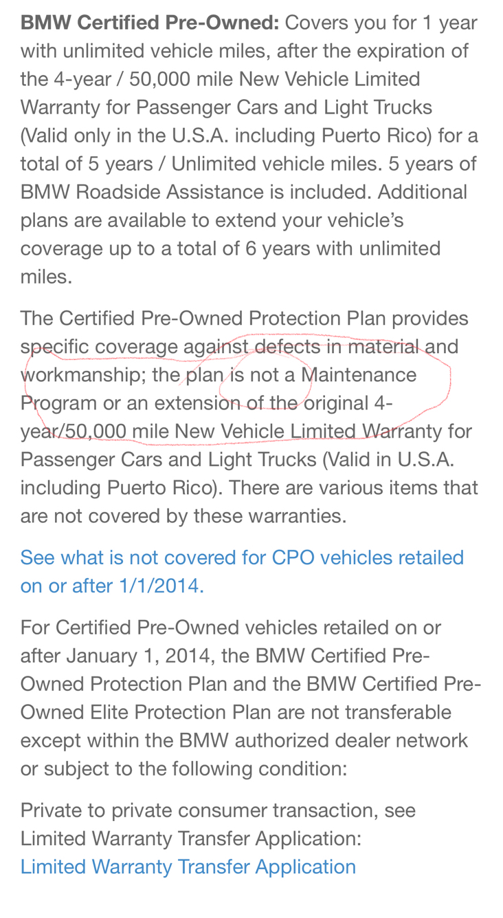 Cpo Warranty Question Bmw 3 Series And 4 Series Forum F30 F32 F30post