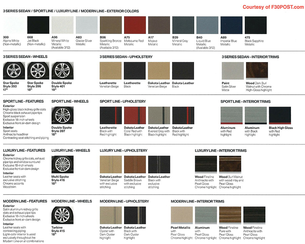 Genuine bmw color chart appealing infiniti interior Modern interior colours 2015