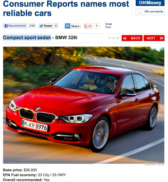F30 328i named most reliable compact sports sedan by
