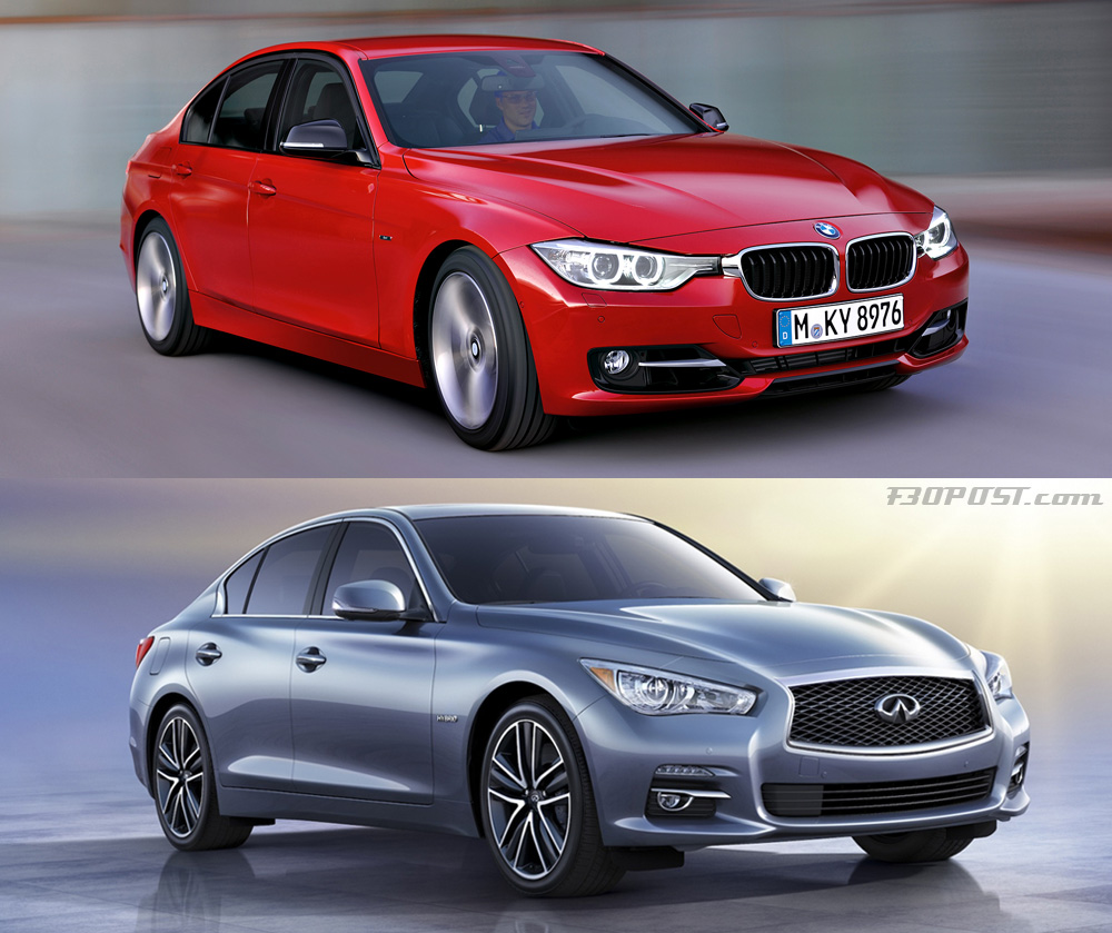 visual comparo of bmw f30 3 series vs infiniti q50 sedan. Black Bedroom Furniture Sets. Home Design Ideas